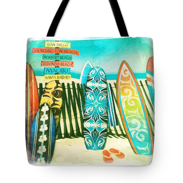 California Surfboards Tote Bag by Nina Prommer