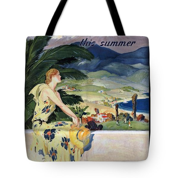 California This Summer - Travel By Train - Vintage Poster Folded Tote Bag