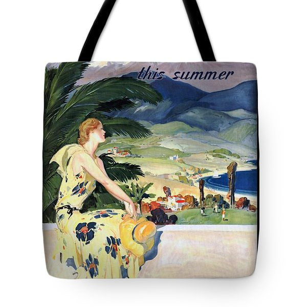 California This Summer - Travel By Train - Vintage Poster Restored Tote Bag