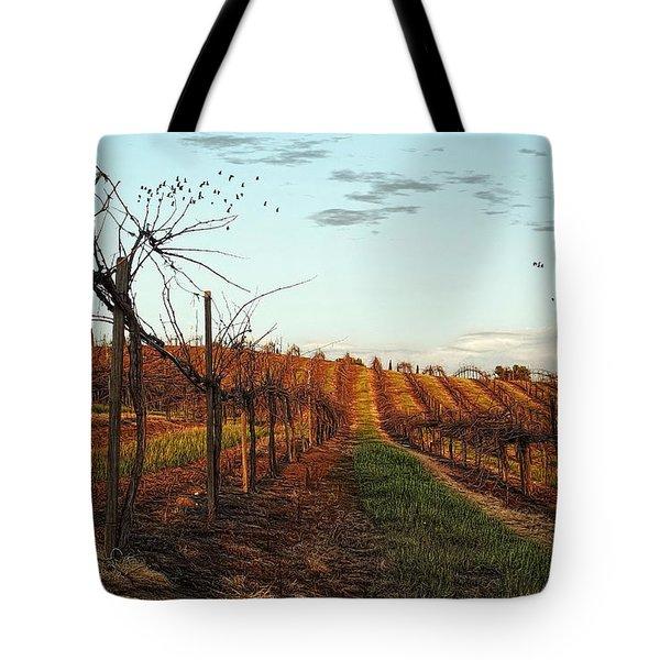 California Vineyard In Winter Tote Bag