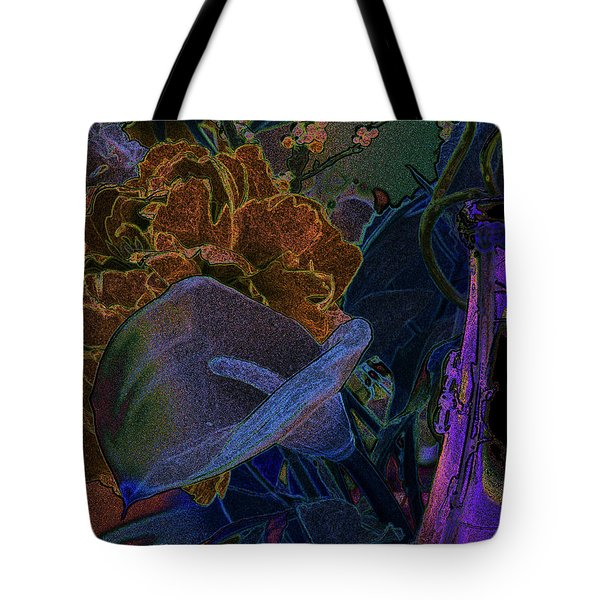 Tote Bag featuring the digital art Calla Lily Abstract by Stuart Turnbull