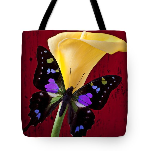 Calla Lily And Purple Black Butterfly Tote Bag by Garry Gay