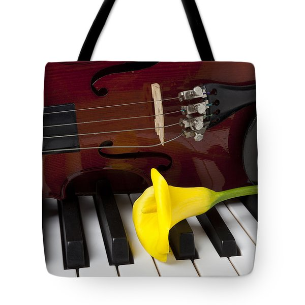 Calla Lily And Violin On Piano Tote Bag by Garry Gay