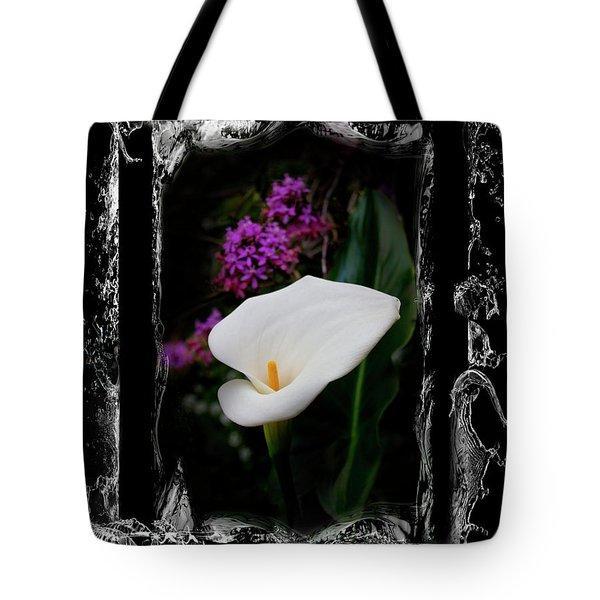 Tote Bag featuring the photograph Calla Lily Splash by Al Bourassa