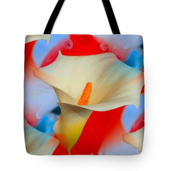 Splashy Calla Lilies Tote Bag