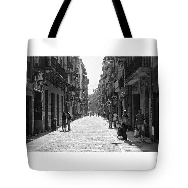 Calle Mayor, Pamplona, Spain.  #fuji Tote Bag by Marcelo Valente