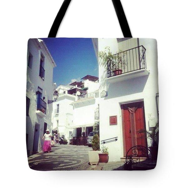 Calles De Frigiliana, Pueblo Blanco De Malaga - Spain Tote Bag