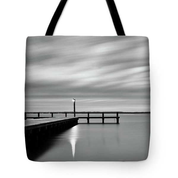 Calm Barnegat Bay New Jersey Black And White Tote Bag