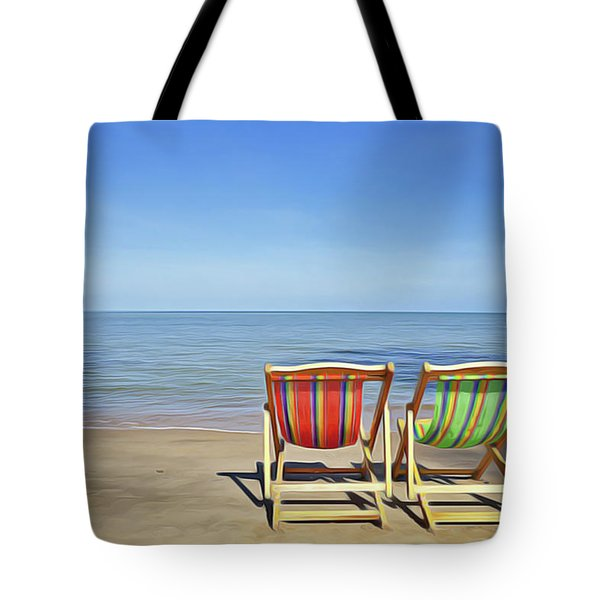 Tote Bag featuring the painting Calm Beach by Harry Warrick