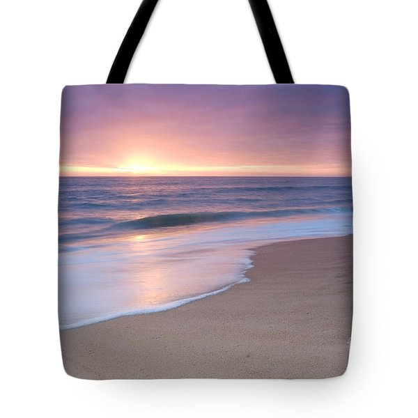 Calm Beach Waves During Sunset Tote Bag