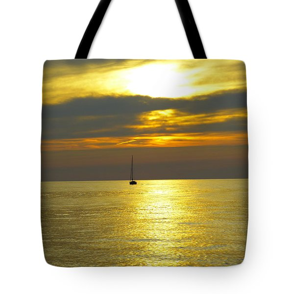 Calm Before Sunset Over Lake Erie Tote Bag by Donald C Morgan