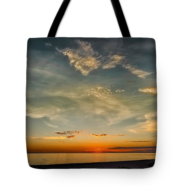 Tote Bag featuring the photograph Calm Gulf Waters Sunset by Frank J Benz
