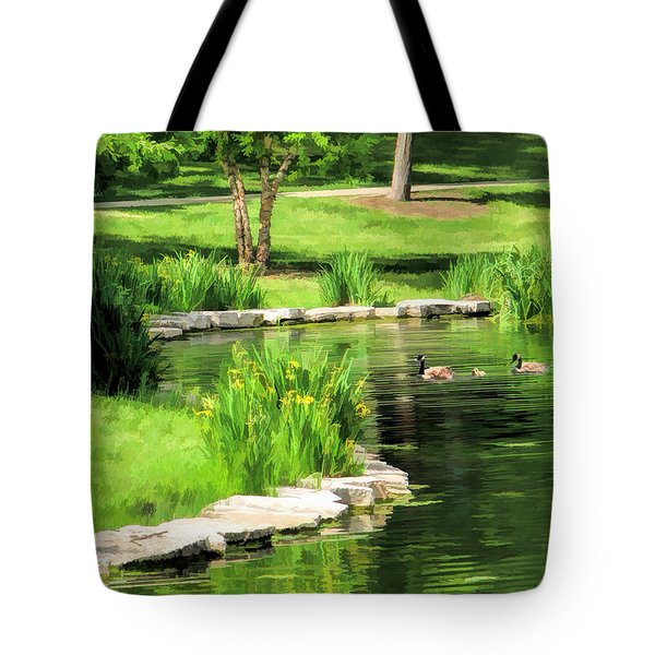 Tote Bag featuring the painting Calm Lake Ellyn by Christopher Arndt
