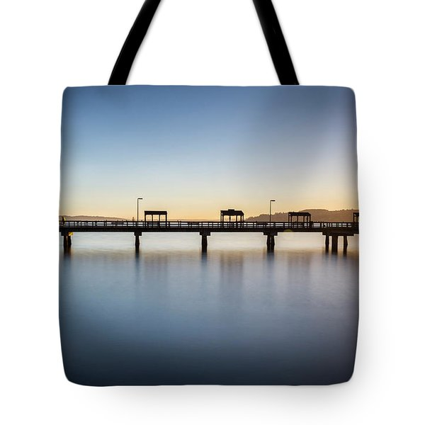 Calm Morning At The Pier Tote Bag