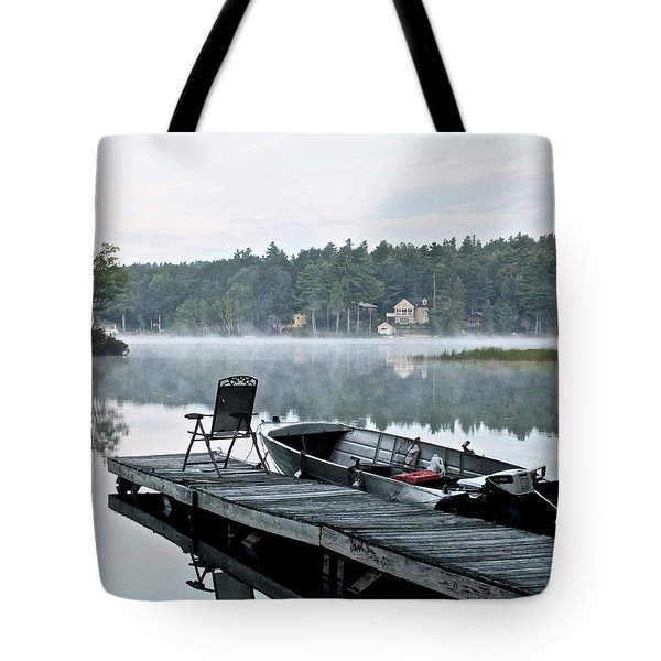 Calm Morning On Little Sebago Lake Tote Bag