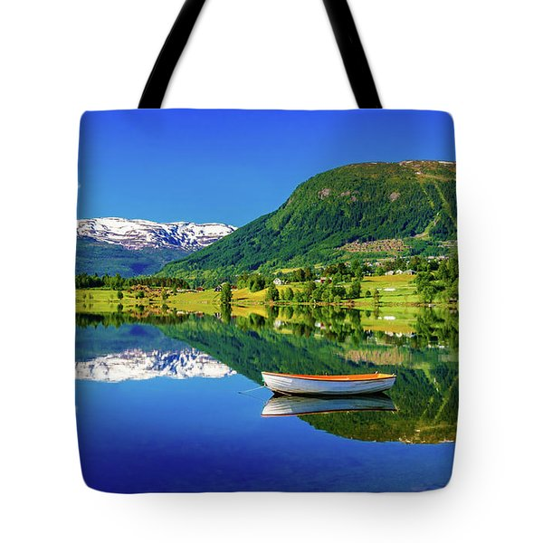 Tote Bag featuring the photograph Calm Morning On Lonavatnet by Dmytro Korol