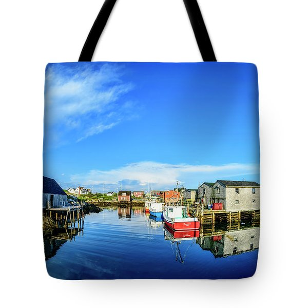 Calm Water At Peggys Cove Tote Bag