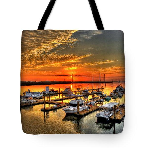 Tote Bag featuring the photograph Calm Waters Bull River Marina Tybee Island Savannah Georgia by Reid Callaway