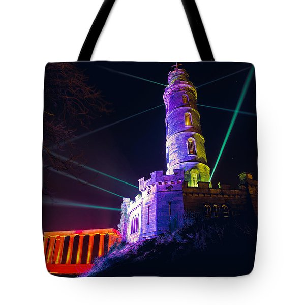 Tote Bag featuring the photograph Calton Hill Lightshow by Ray Devlin