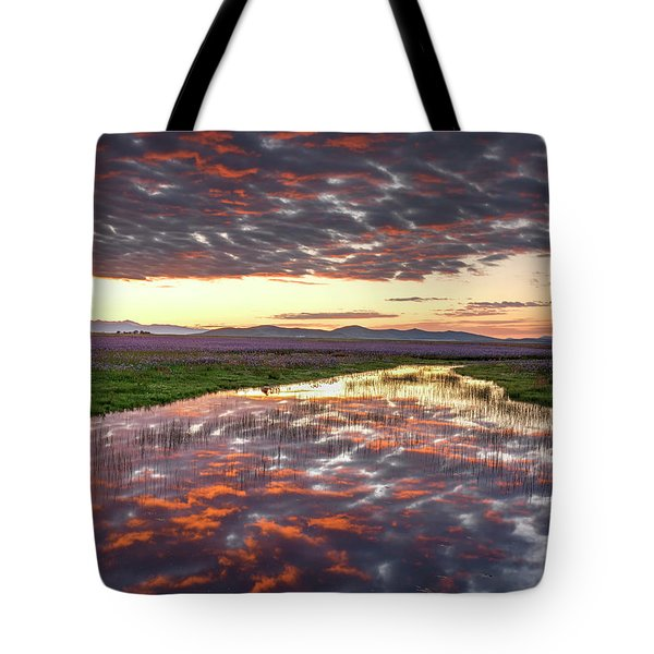 Camas Spring Sunrise Tote Bag by Leland D Howard