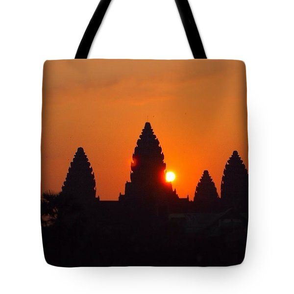 #cambodia #sunrise #sun #orange #angkor Tote Bag by Moto Moto
