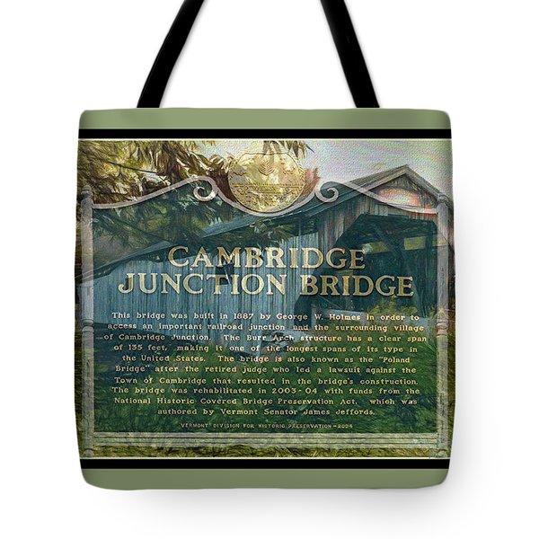 Cambridge Jct. Bridge History Tote Bag