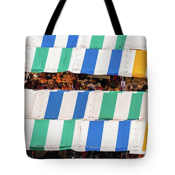 Cambridge Market Stripes Tote Bag by David Warrington