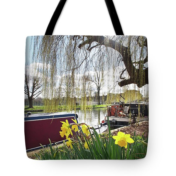 Tote Bag featuring the photograph Cambridge Riverbank In Spring by Gill Billington