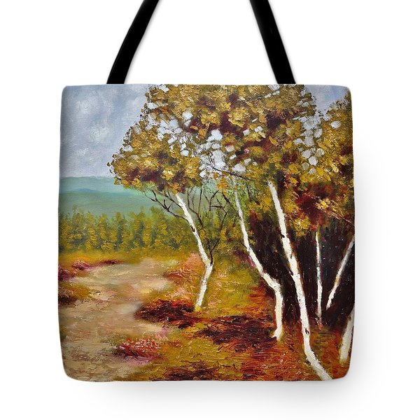 Camel Top Birches Tote Bag