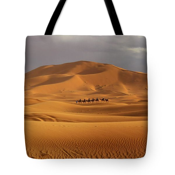 Tote Bag featuring the photograph Camel Trek by Ramona Johnston