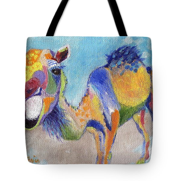 Tote Bag featuring the painting Camelorful by Jamie Frier