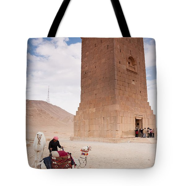 Camels And Camel Rider In Palmyra Tote Bag