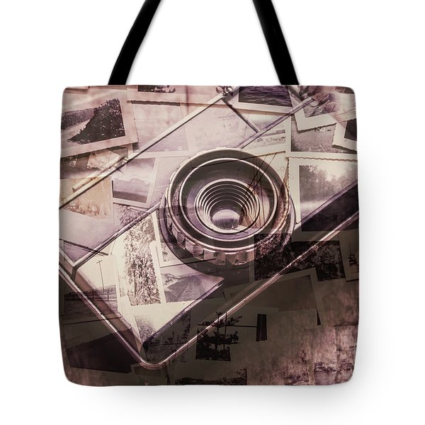 Camera Of A Vintage Double Exposure Tote Bag