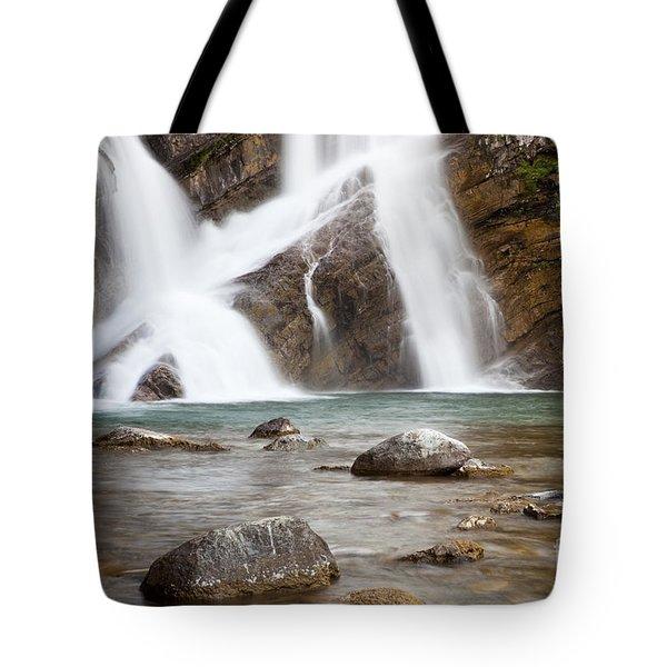Cameron Falls In Waterton Lakes National Park Tote Bag