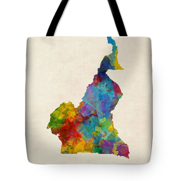 Tote Bag featuring the digital art Cameroon Watercolor Map by Michael Tompsett