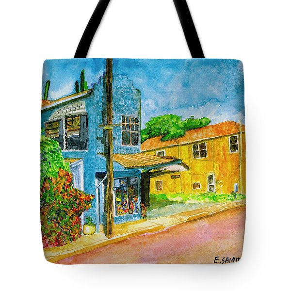 Tote Bag featuring the painting Camilles Place by Eric Samuelson