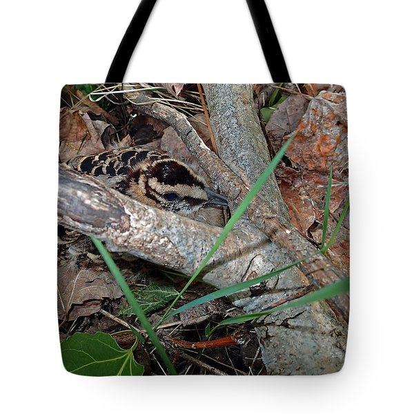 Camouflage And Mimicry Of The Woodcock Chick Tote Bag