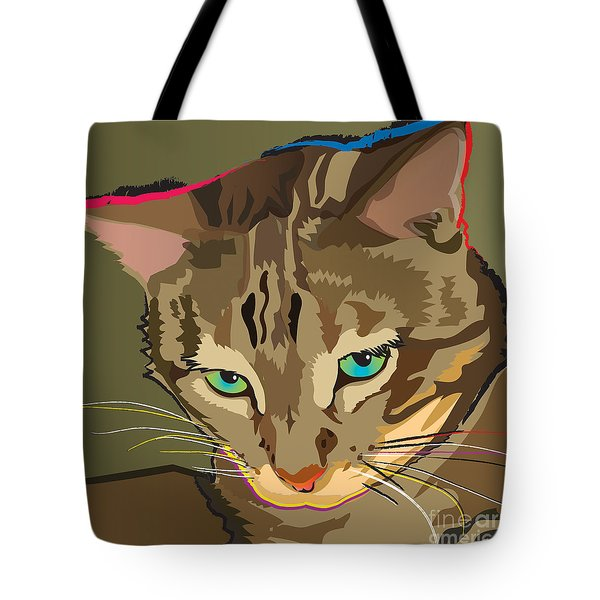 Camouflage Bengal Cat Square Tote Bag