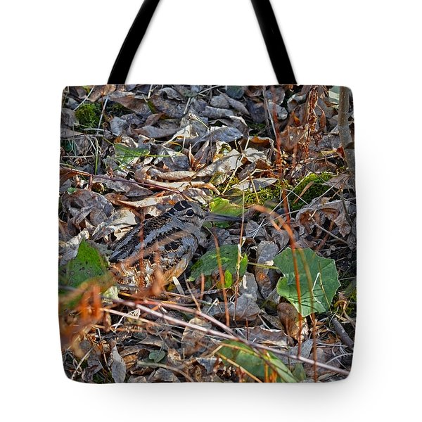 Camouflaged Plumage With Fallen Leaves Tote Bag