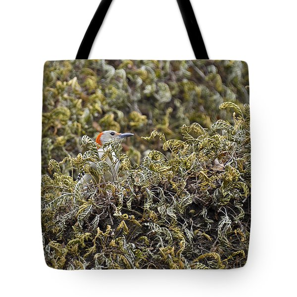 Camouflaged Red-bellied Woodpecker Tote Bag by Carolyn Marshall