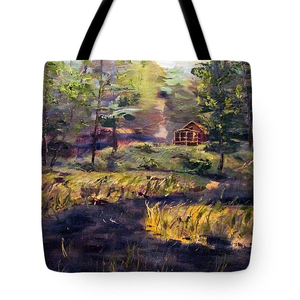 Camp At Efner Lake Brook Tote Bag