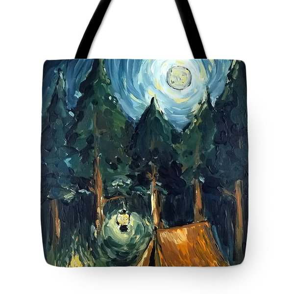 Tote Bag featuring the painting Camp At Night by Maria Langgle