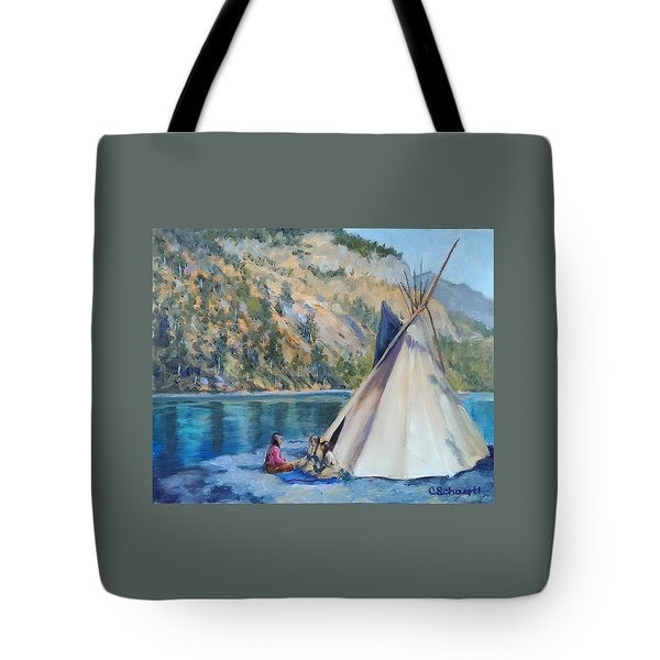 Camp By The Lake Tote Bag by Connie Schaertl