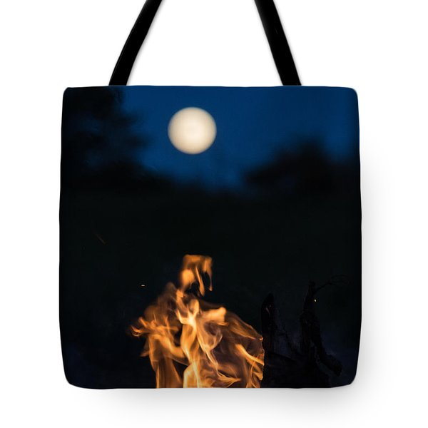 Camp Fire And Full Moon Tote Bag
