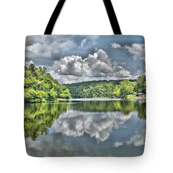 Camp Mountain Lake Tote Bag