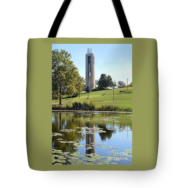 Campanile Reflection In Kansas Tote Bag by Catherine Sherman