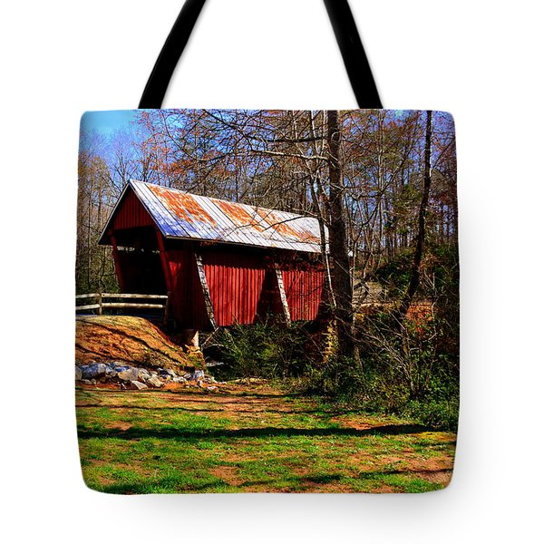 Tote Bag featuring the photograph Campbell's Covered Bridge Est. 1909 by Lisa Wooten