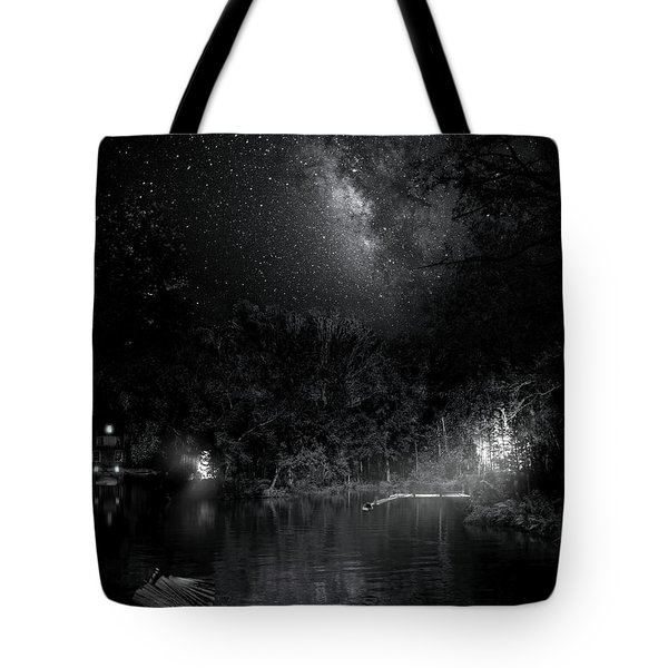 Tote Bag featuring the photograph Campfires On Milky Way River by Mark Andrew Thomas