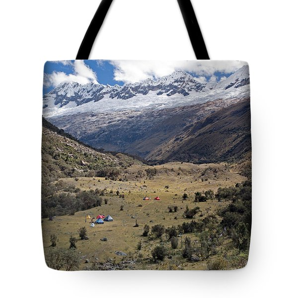 Camping In Huaripampa Valley Tote Bag by Aivar Mikko