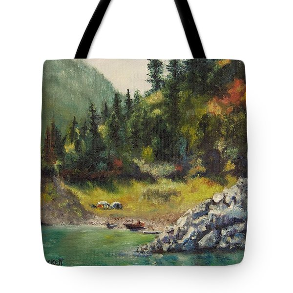 Camping On The Lake Shore Tote Bag by Lori Brackett